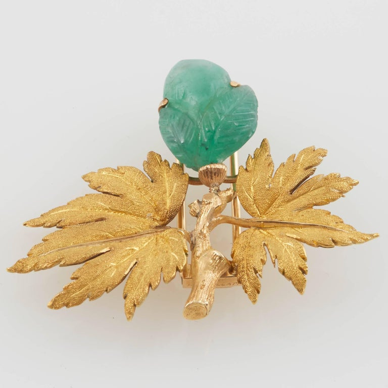 Buccellati Gold and Carved Emerald Brooch For Sale 1