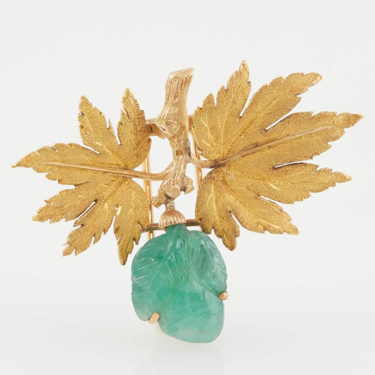 Buccellati Gold and Carved Emerald Brooch For Sale 2