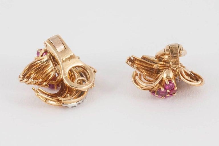 Women's Kutchimsky Ruby Diamond Gold Clip-On Earrings For Sale