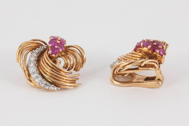 Kutchimsky Ruby Diamond Gold Clip-On Earrings For Sale 1