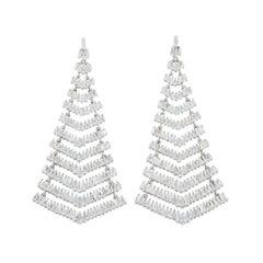 SAM.SAAB White Gold and Diamond Baguette Tree Earrings