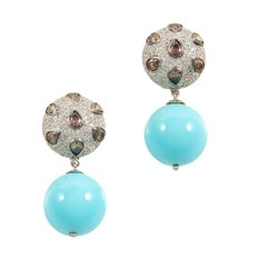 SAM.SAAB White Gold Turquoise and Diamond Earrings