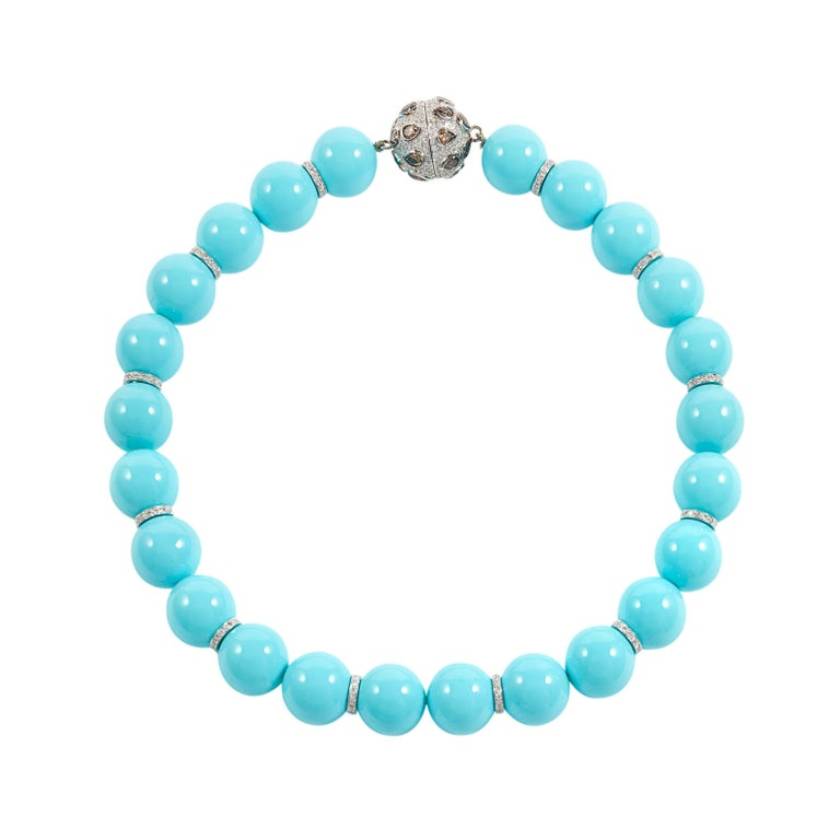 SAM.SAAB Turquoise and Diamond White Gold Necklace