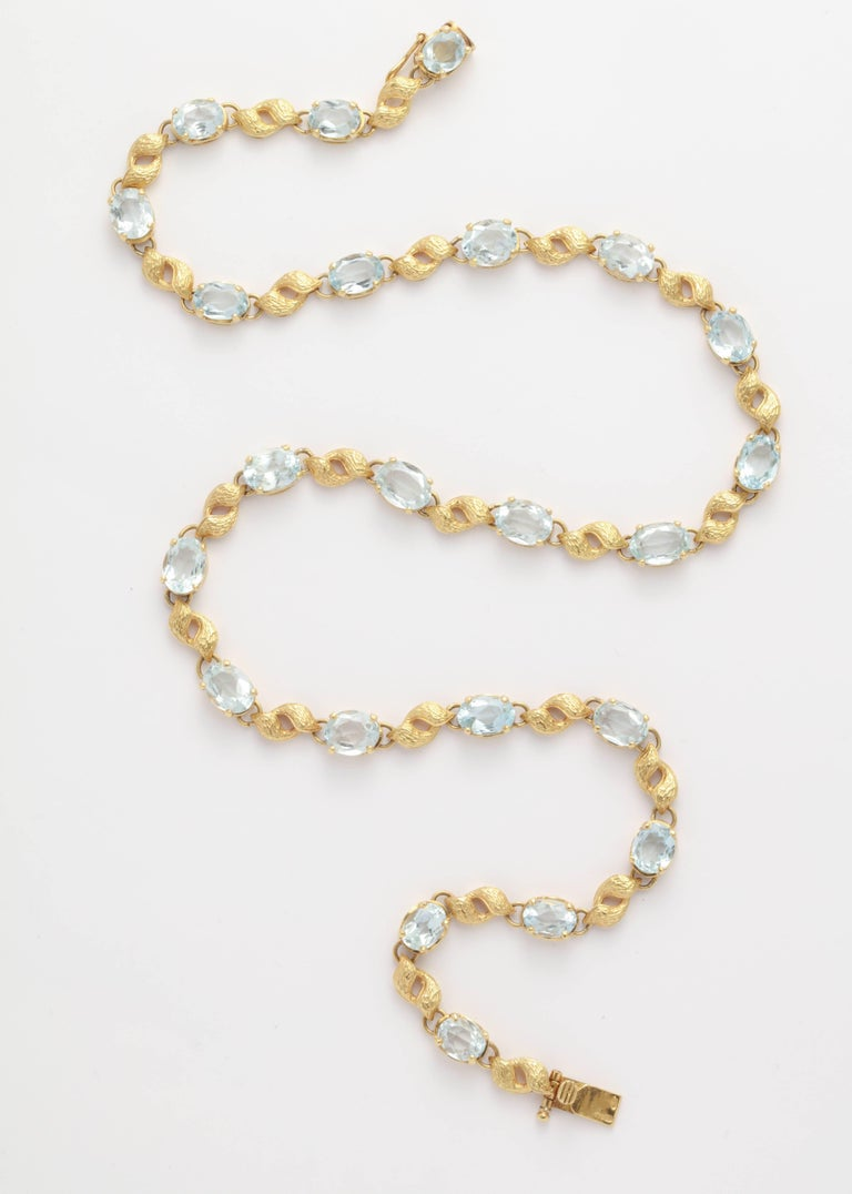 68acec594 ... Gold Leaf and Faceted Aquamarine Necklace For Sale. Very Graceful and  delicate Necklace composed of an 18kt engraved Floral Leaf and alternating  with a