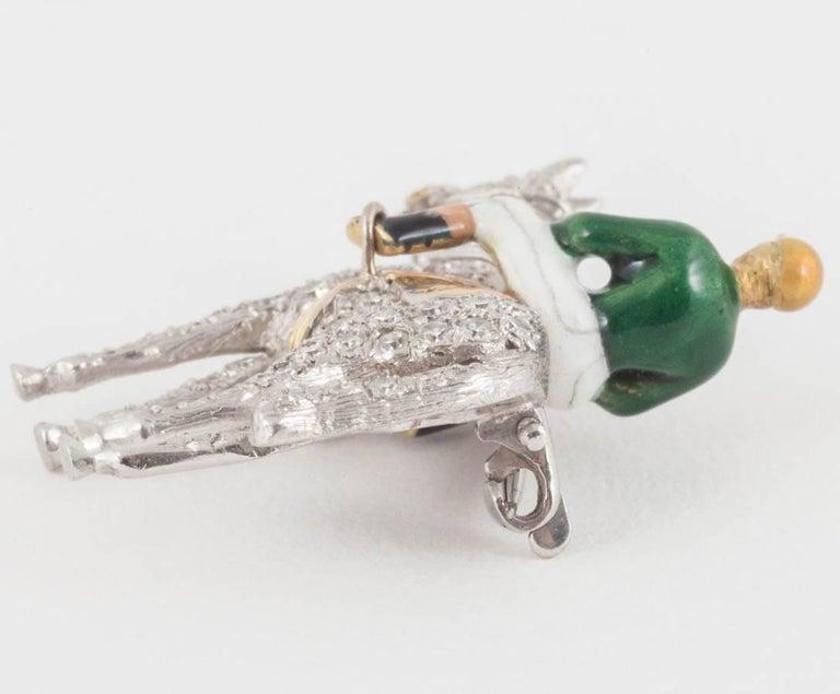 Racehorse and jockey brooch set diamonds and enamel silks,Alabaster and Wilson  4