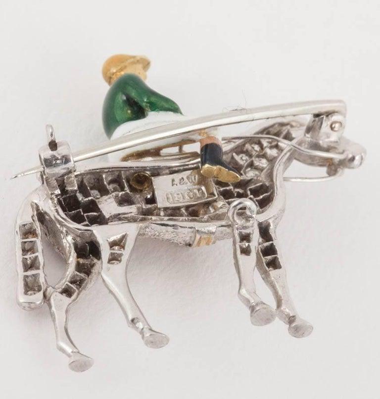 Racehorse and jockey brooch set diamonds and enamel silks,Alabaster and Wilson  5
