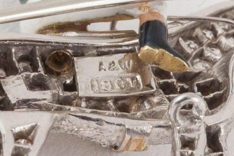 Racehorse and jockey brooch set diamonds and enamel silks,Alabaster and Wilson  6