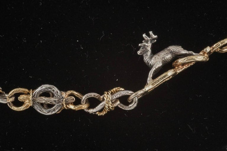 Rare 19th Century Silver and Gold Necklace of Stags, Hounds and Foxes 2
