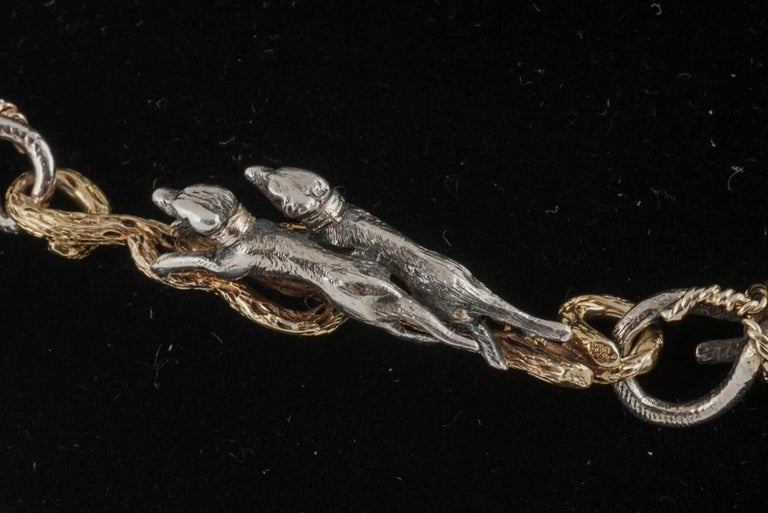 Rare 19th Century Silver and Gold Necklace of Stags, Hounds and Foxes 4