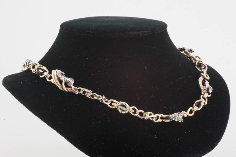 Rare 19th Century Silver and Gold Necklace of Stags, Hounds and Foxes 9