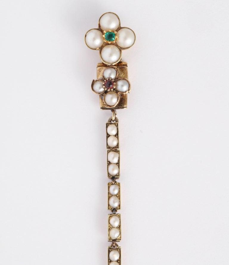 Victorian Hunt and Roskell Garnet Emerald Seed Pearl Bracelet Original Box For Sale 1