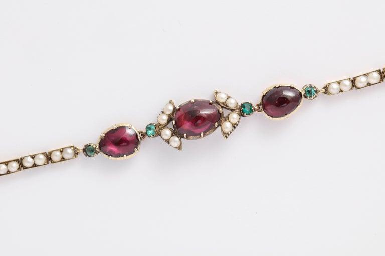 Victorian Hunt and Roskell Garnet Emerald Seed Pearl Bracelet Original Box For Sale 2
