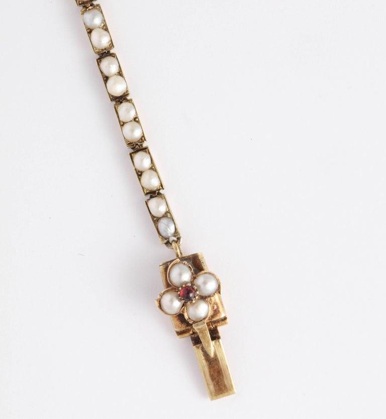Victorian Hunt and Roskell Garnet Emerald Seed Pearl Bracelet Original Box For Sale 3