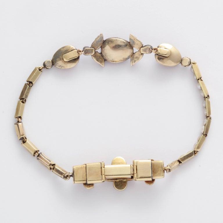Victorian Hunt and Roskell Garnet Emerald Seed Pearl Bracelet Original Box For Sale 4