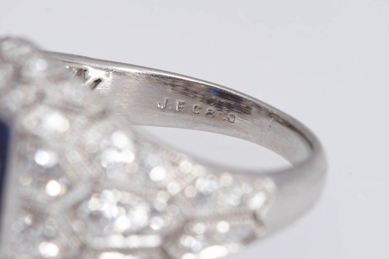 Women's Art Deco J. E. Caldwell 2.89 Carat Sapphire Diamond Ring AGL Certificate For Sale