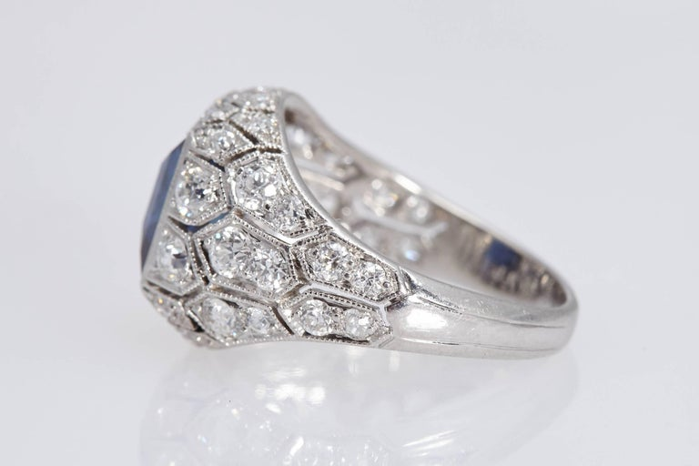 Art Deco J. E. Caldwell 2.89 Carat Sapphire Diamond Ring AGL Certificate 5