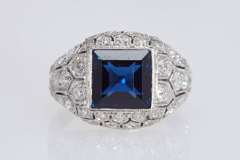 Art Deco J. E. Caldwell 2.89 Carat Sapphire Diamond Ring AGL Certificate For Sale 2
