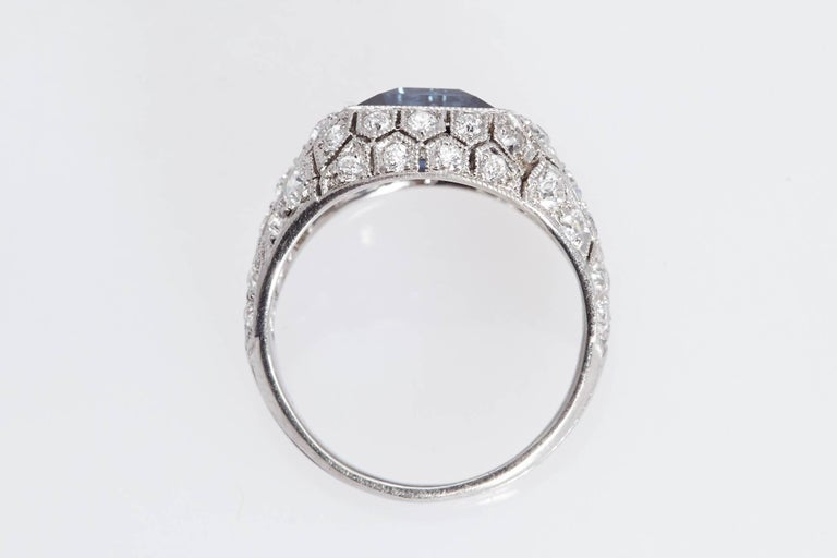 Art Deco J. E. Caldwell 2.89 Carat Sapphire Diamond Ring AGL Certificate In Excellent Condition For Sale In New York, NY