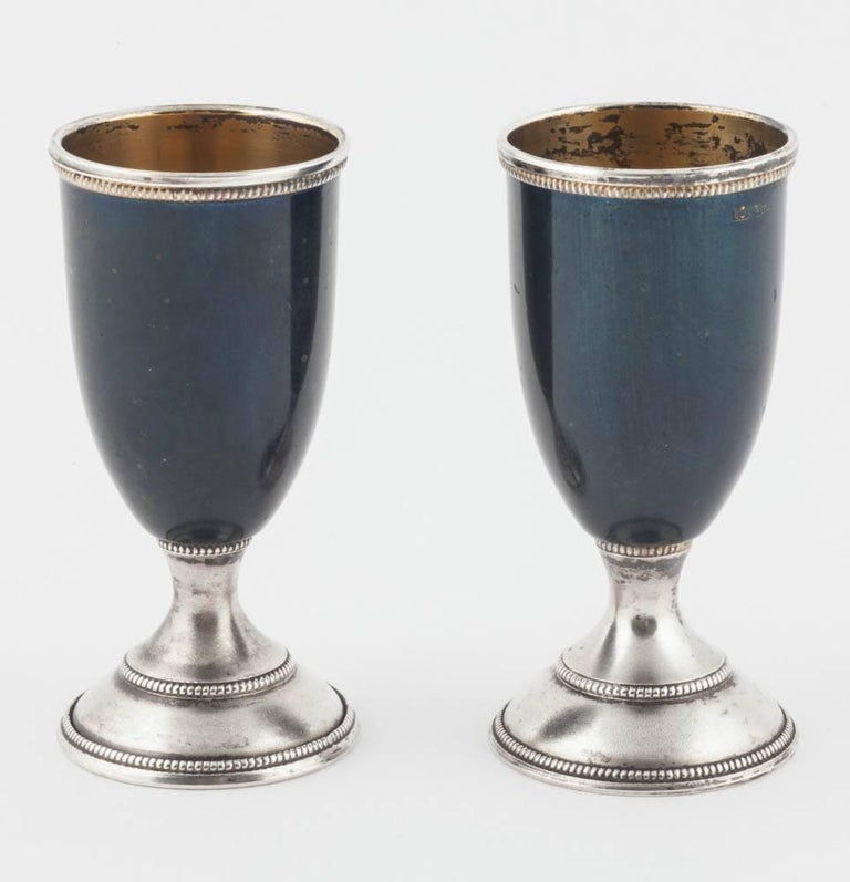 Pair of Russian Enamelled Vodka Cups, 20th Century In Good Condition For Sale In Lewiston, NY