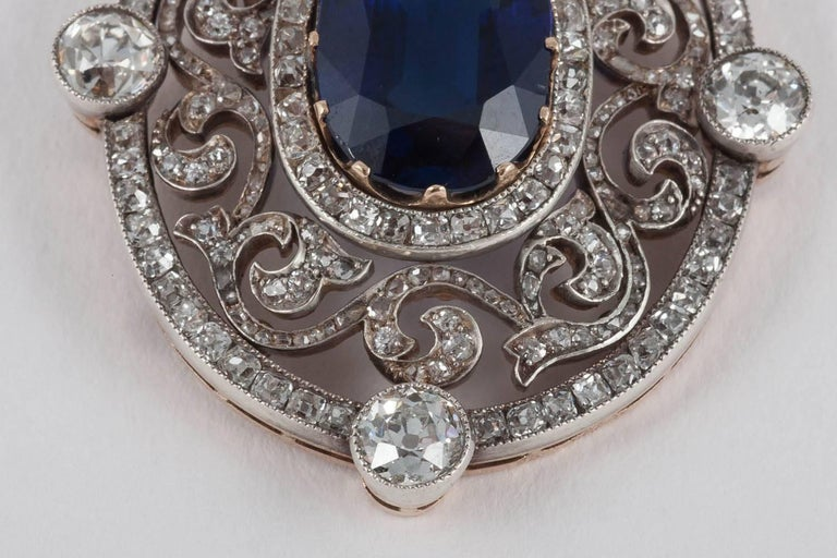 A rare piece of Faberge jewellery, the pendant is unusually set with an important natural un-heated Burma sapphire, whilst most pieces of Faberge jewellery do not use such important stones, as they rely upon the exceptional quality of the