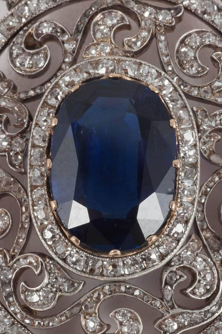 Late Victorian Faberge Moscow 1899 6.44 Carat Natural Unheated Burma Sapphire Diamond Pendant For Sale