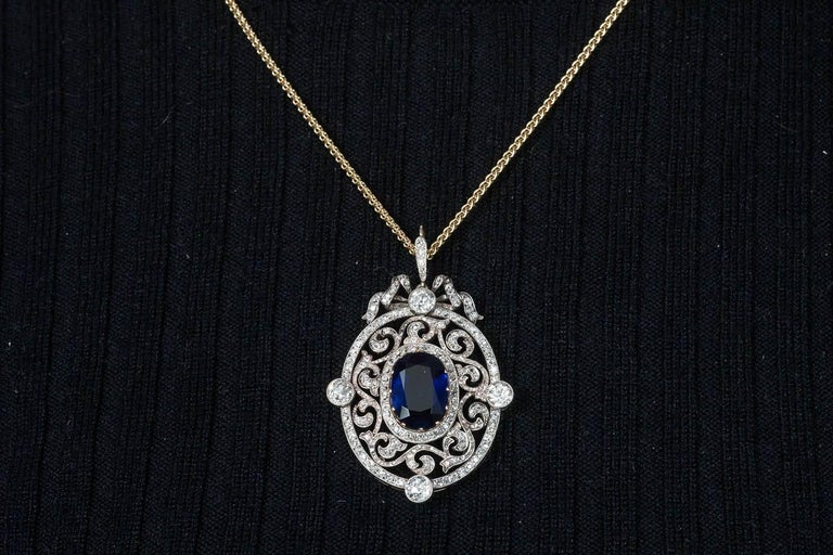 Faberge Moscow 1899 6.44 Carat Natural Unheated Burma Sapphire Diamond Pendant For Sale 1
