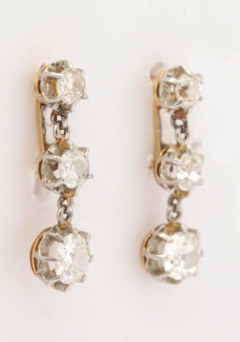 Edwardian Three Stone Diamond Drop Dangle Platinum And
