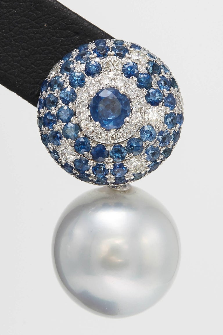 Contemporary South Sea Pearl with Sapphire and Diamond Drop Earrings 5.53 Carats 18K For Sale