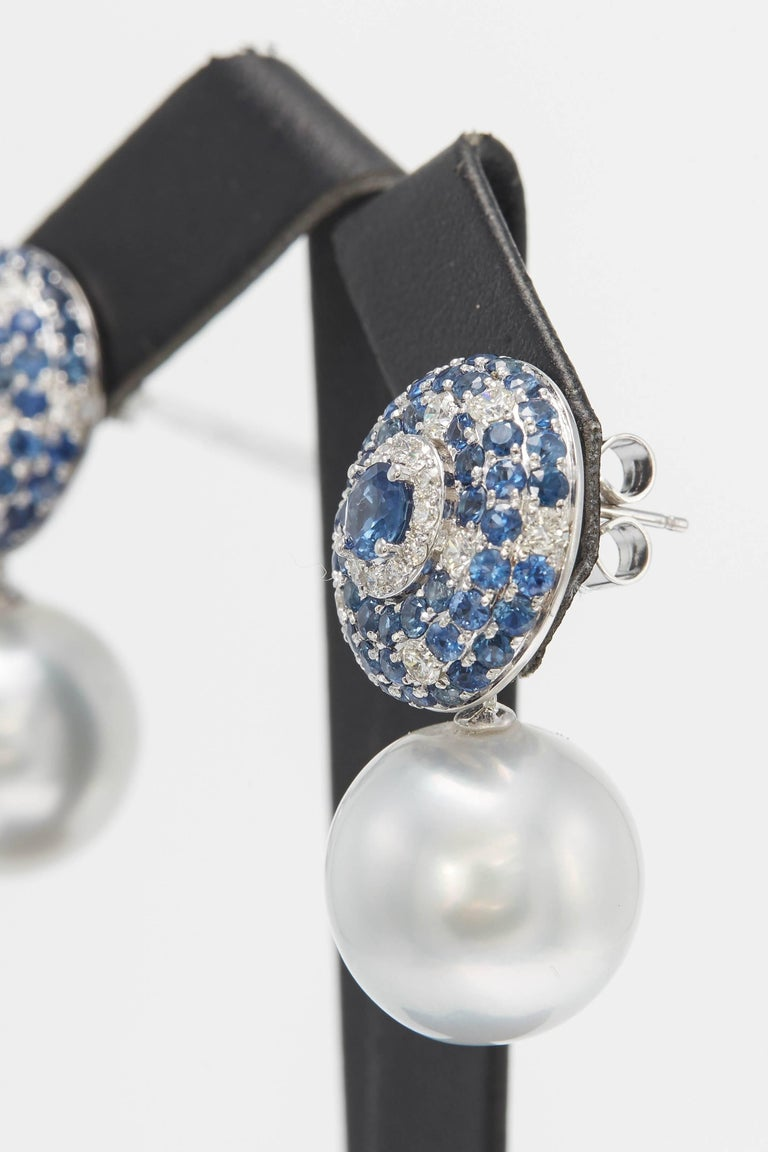 Round Cut South Sea Pearl with Sapphire and Diamond Drop Earrings 5.53 Carats 18K For Sale