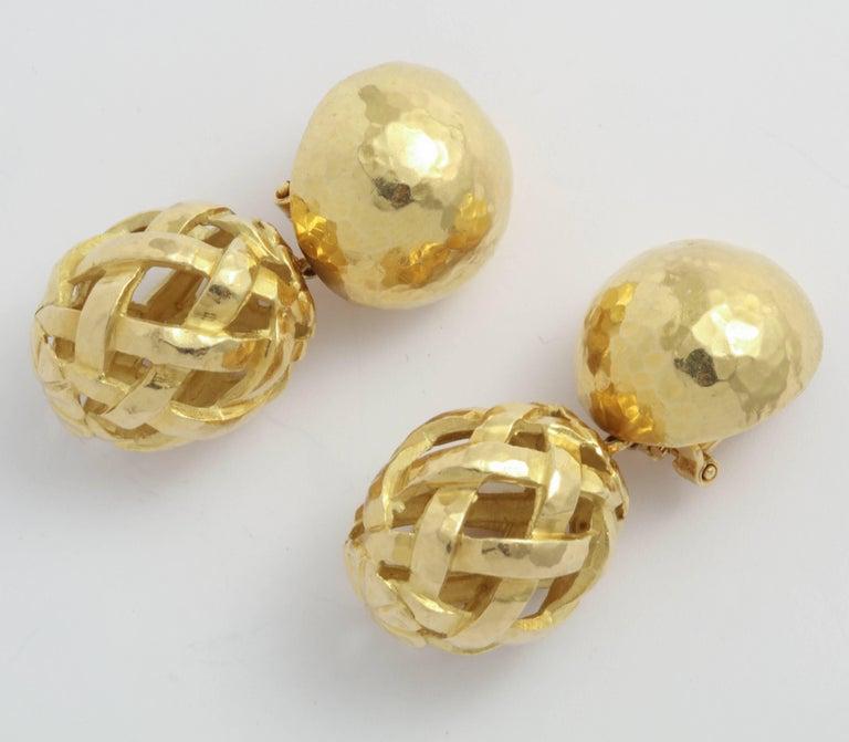 Italian Hammered Top and Lattice Drop Earrings 3