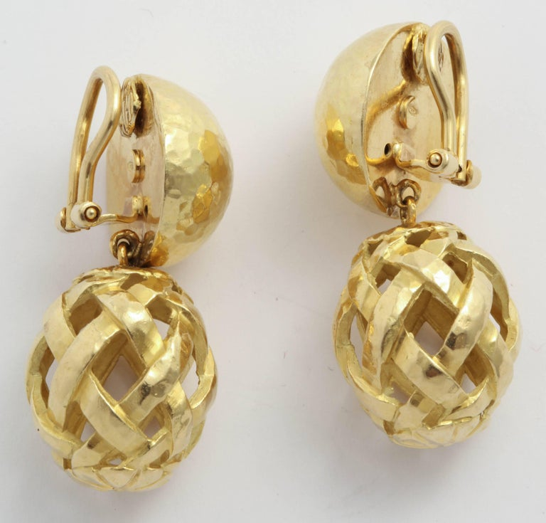 Women's or Men's Italian Hammered Top and Lattice Drop Earrings For Sale