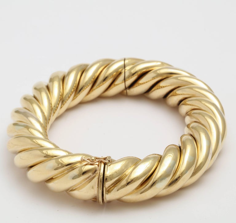 Contemporary Birks Canada Hinged Heavy Gold Rope Bangle For Sale