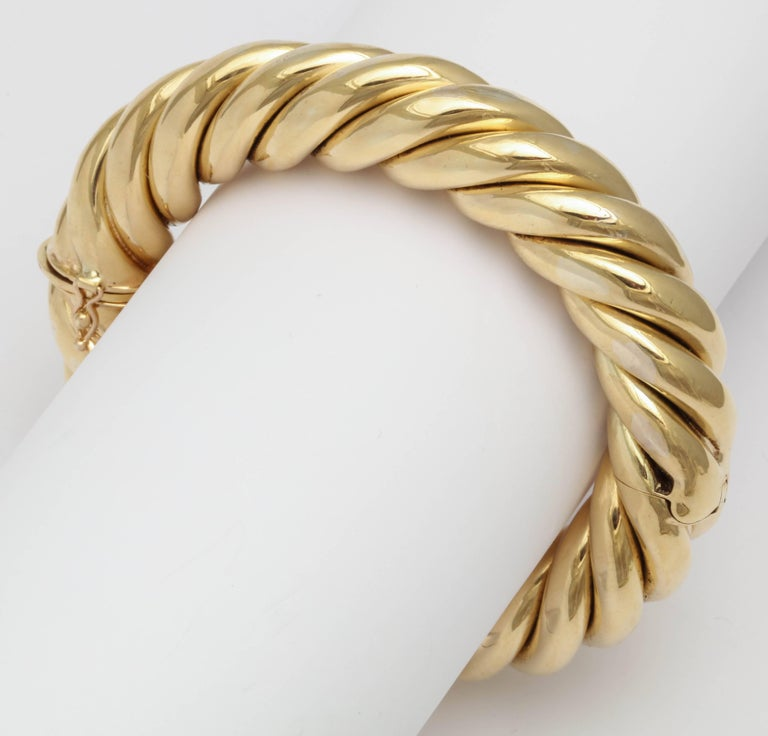 Birks Canada Hinged Heavy Gold Rope Bangle For Sale 3