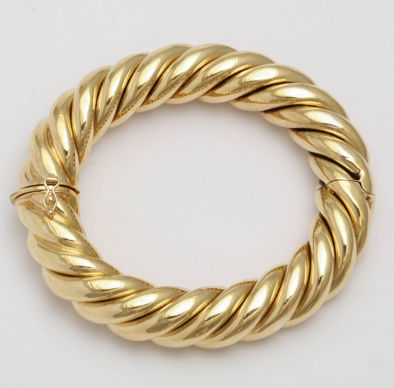 Birks Canada Hinged Heavy Gold Rope Bangle For Sale 4