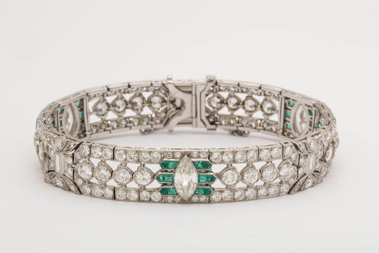 One Ladies Ultimate Art Deco Flexible Bracelet With Mixed Cut Diamonds Of Round,Baguette And Pear Cut Diamonds All Very Fine Superior quality. Three Pear Shaped Diamonds Weighing approximately .75 Cts each. Total diamond Weight approximately 11