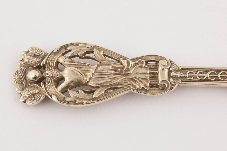 English Silver Gilt Knife Fork and Spoon by Hunt & Roskell, 1897 For Sale 1