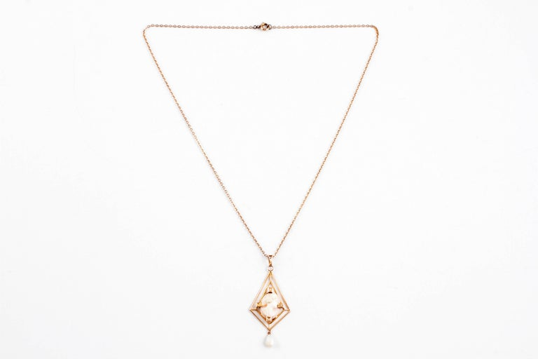 Precious and Lovely!  In 10 karat yellow gold, just the thing for your sweetheart!  The lavalier measures 1 3/4 inches in length.