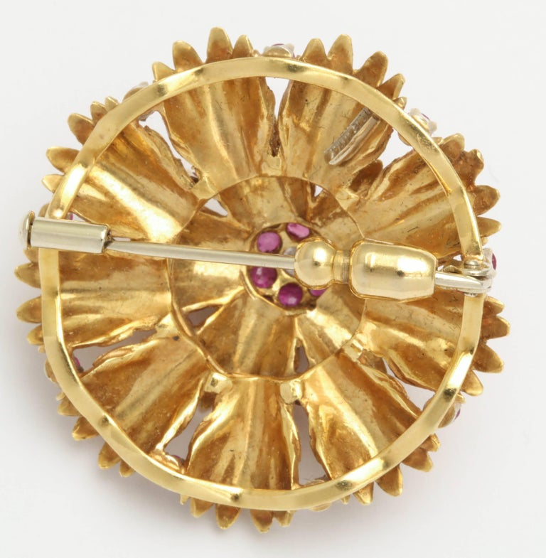 Contemporary Ruby and Diamond Wreath Pin For Sale