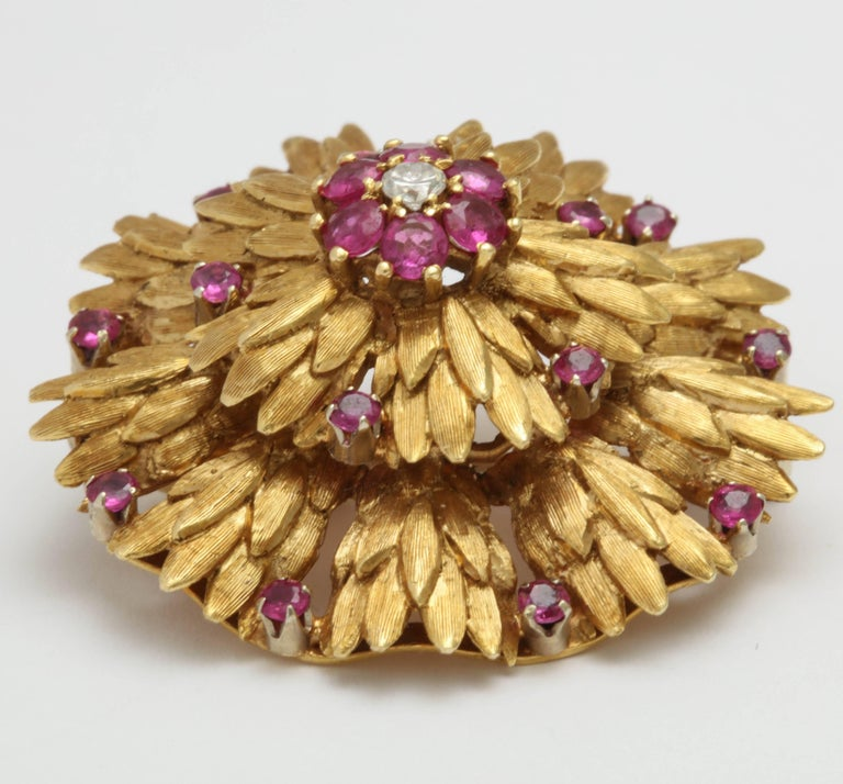 Women's Ruby and Diamond Wreath Pin For Sale