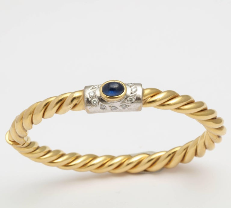Center Cabochon Sapphire and Diamond Yellow Gold Bangle 2