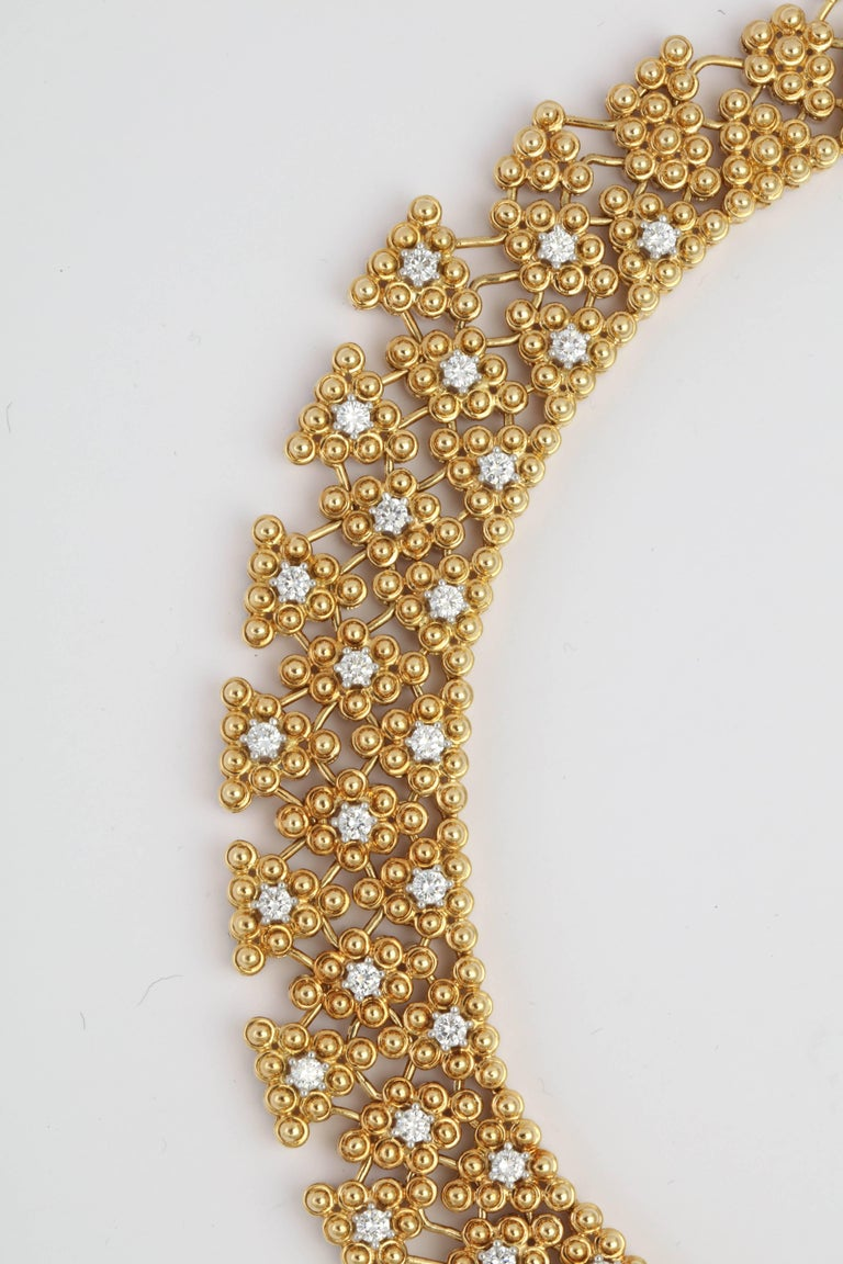 Hellenistic Woven Yellow Gold and Diamond Collar For Sale
