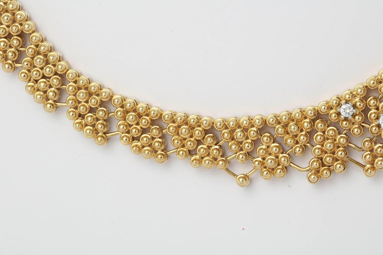 Woven Yellow Gold and Diamond Collar In Excellent Condition For Sale In New York, NY
