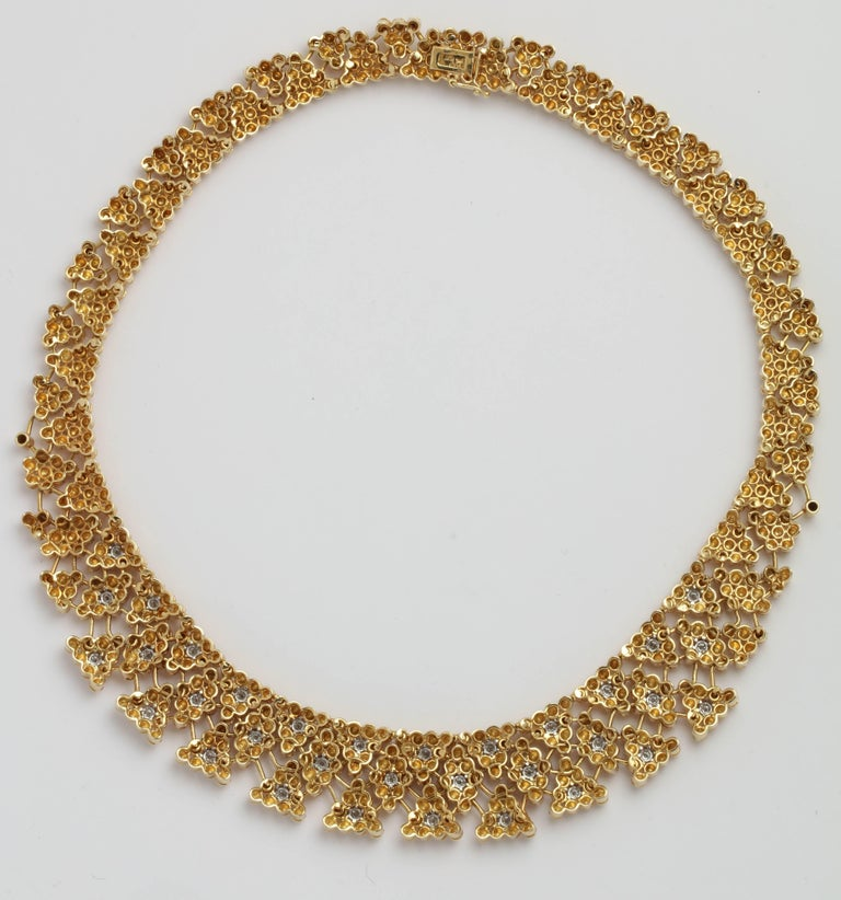 Women's Woven Yellow Gold and Diamond Collar For Sale