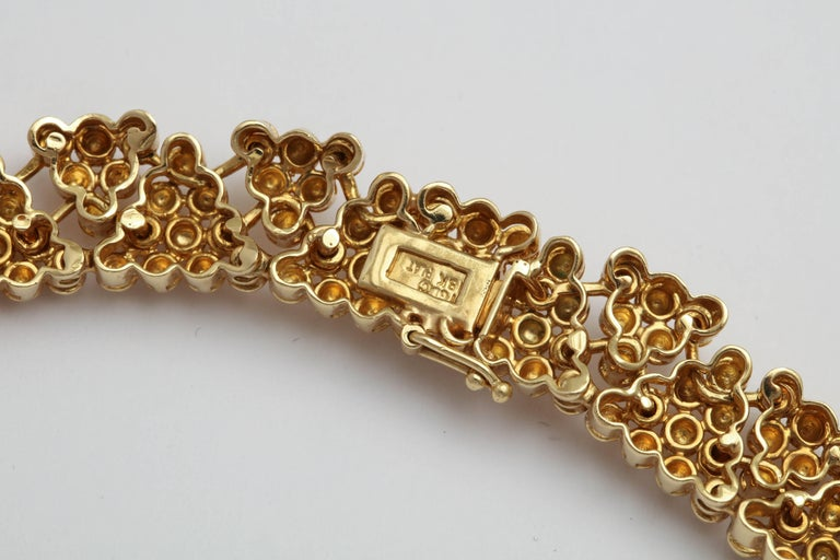 Woven Yellow Gold and Diamond Collar For Sale 1