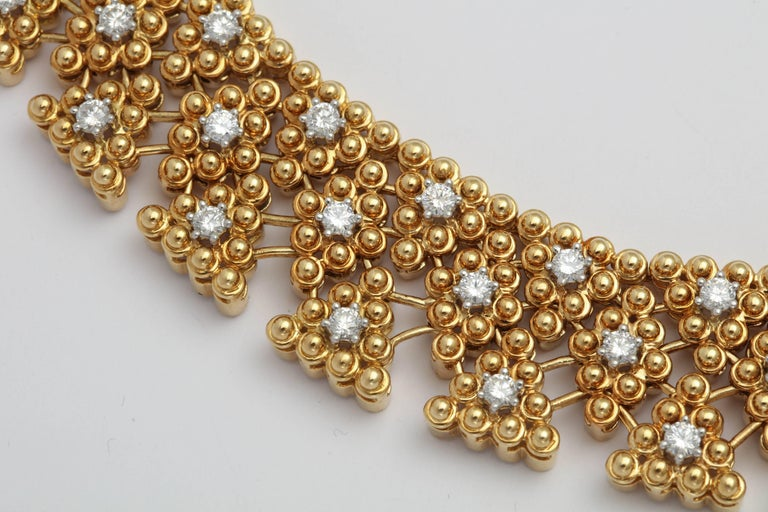 Woven Yellow Gold and Diamond Collar For Sale 2
