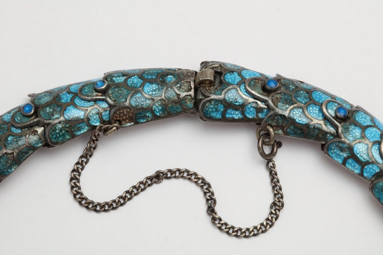 Margot Reticulated Silver and Enamel Serpent Necklace In Excellent Condition For Sale In New York, NY