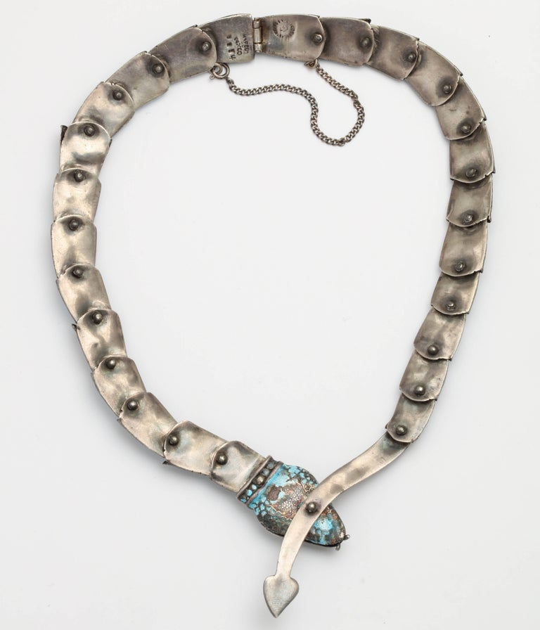 Margot Reticulated Silver and Enamel Serpent Necklace For Sale 2