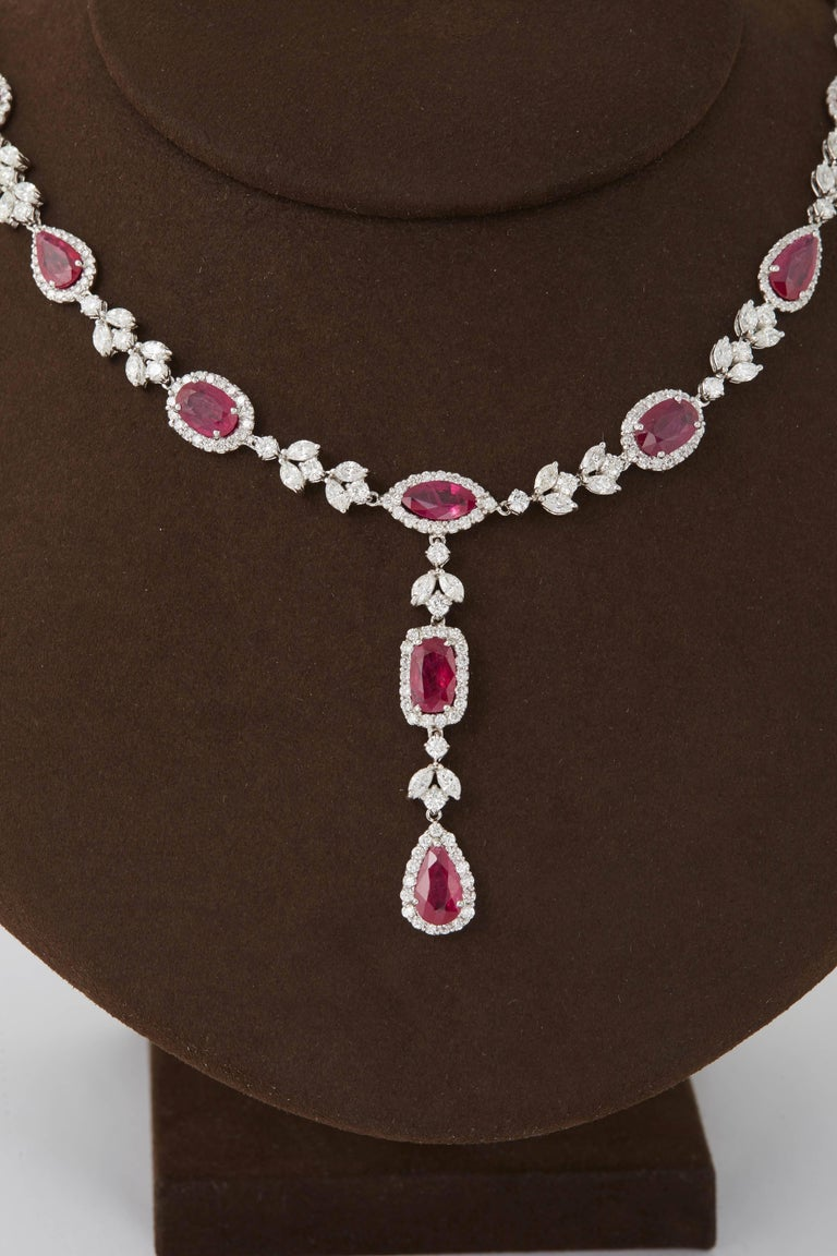 Multi Shape Ruby and Diamond Drop Necklace In As New Condition For Sale In New York, NY