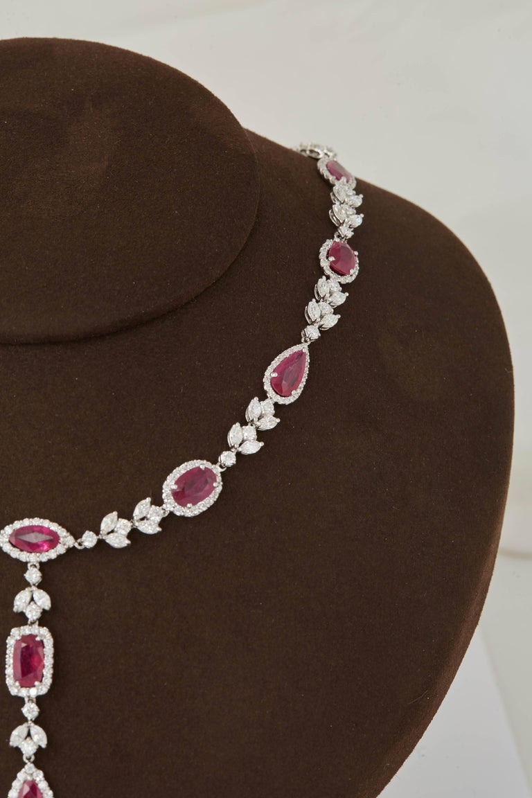 Women's Multi Shape Ruby and Diamond Drop Necklace For Sale