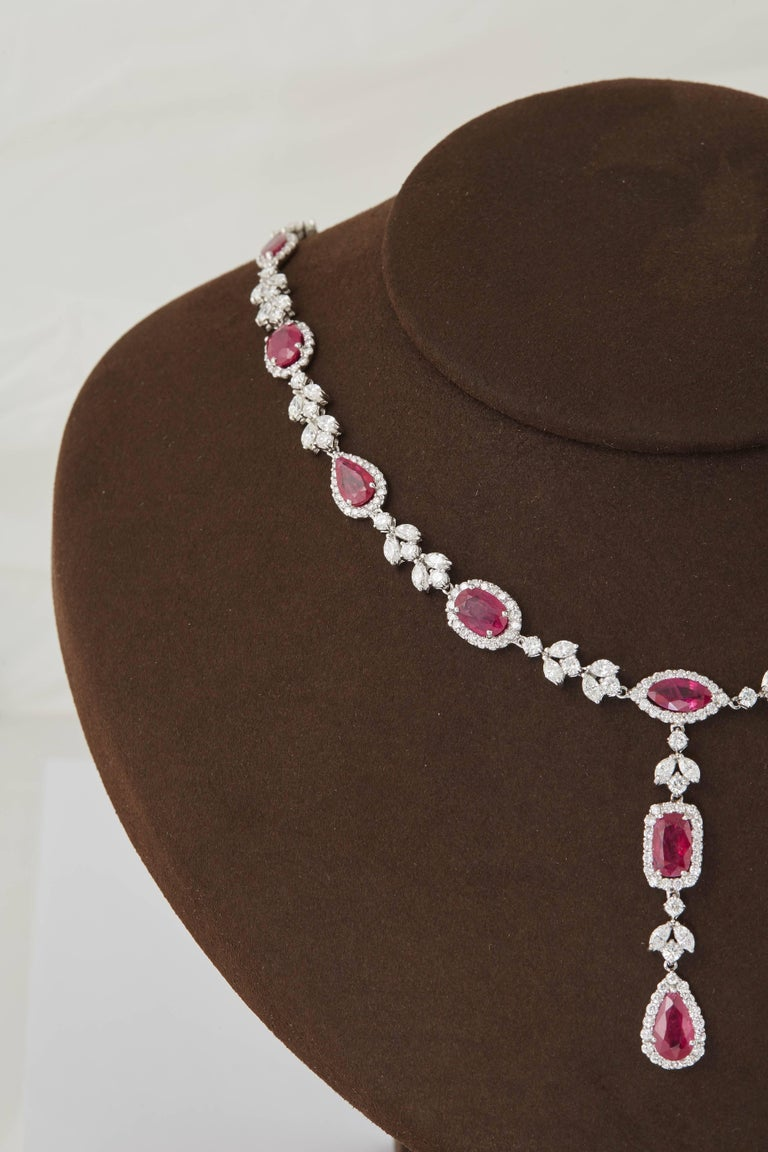 Multi Shape Ruby and Diamond Drop Necklace For Sale 1